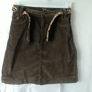 Gap Brown Animal Print Skirt with Belt